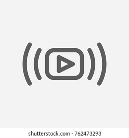 Video stream icon line. Isolated symbol on online education topic with video stream icon, live streaming and media meaning vector illustration.