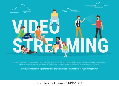 Video streaming concept illustration of young people using laptop, tablet and mobile smartphone to watch live video streaming via internet. Flat vector design of people standing near letters