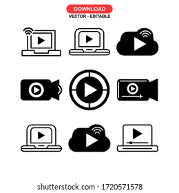 video streaming icon or logo isolated sign symbol vector illustration - Collection of high quality black style vector icons