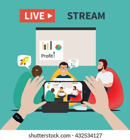Video streaming on smartphone. Business co working process. Watch online videos poster suitable for infographics, presentation or advertising. Vector illustration.