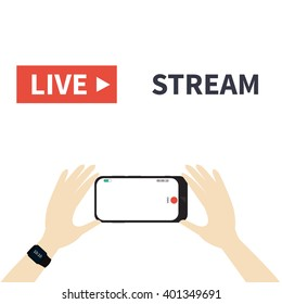 Video streaming on smartphone. Watch online videos poster suitable for infographics, presentation or advertising. Vector illustration.
