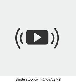 Video streaming vector icon solid grey