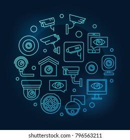 Video surveillance blue round symbol. Vector modern CCTV illustration in thin line style on dark background
