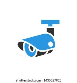 Video surveillance camera, gray blue vector illustration
