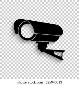 Video surveillance CCTV Camera - black vector  icon with shadow