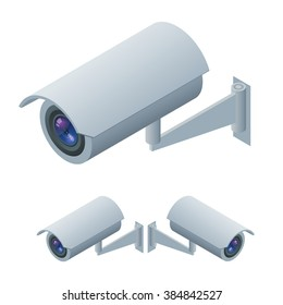 Video surveillance, CCTV camera icon, security camera 3d. Flat 3d isometric vector illustration. For infographics and design