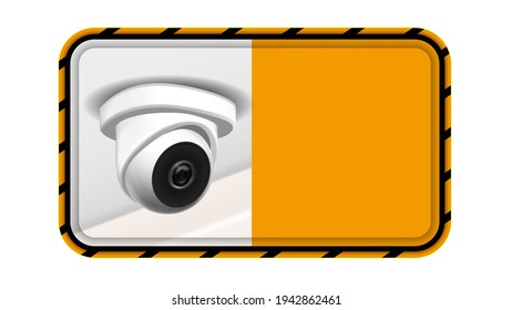 Video Surveillance Notice Nameplate Banner Vector. Ceiling Supervision Security Cctv Transmit Video And Audio Signal To Wireless Receiver Through Radio Band. Realistic 3d Illustration
