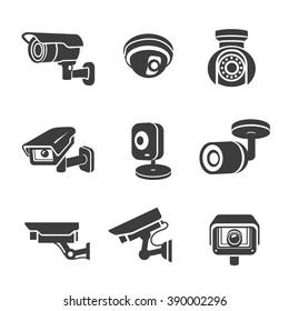Video surveillance security cameras graphic icon pictograms set