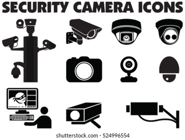 Video surveillance security cameras graphic vector illustration.  Vector illustration of thief caught on camera surveillance and watching by control room on computer.