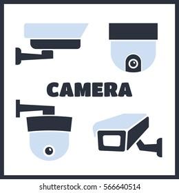 Video surveillance security cameras vector icons set