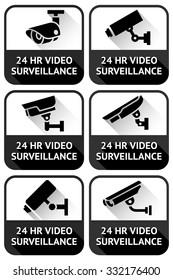 Video surveillance set, on a black square, vector illustration