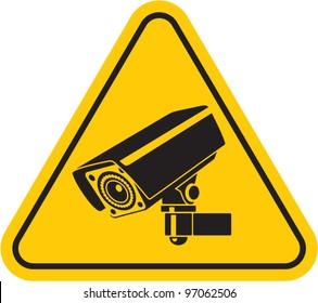 Video surveillance sign. CCTV Camera. Black vector isolated