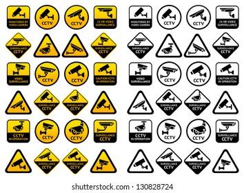 Video surveillance signs - Big yellow and black sets, vector illustration