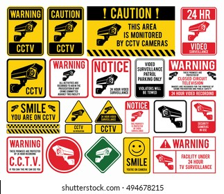 "Video surveillance signs. CCTV ""Closed Circuit Television"" Signs. Vector illustration."