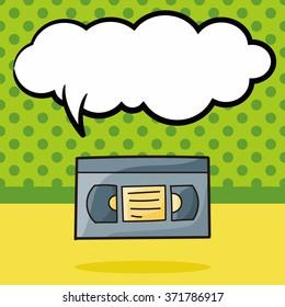 video tape doodle, speech bubble