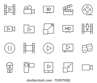 Video thin line icons set.  96x96 for Web Graphics and Apps.  Simple Minimal Pictograms. Vector