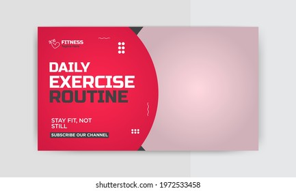 Video thumbnail design  for gym and Fitness. Editable Exercise ideas video thumbnail template for web or social media