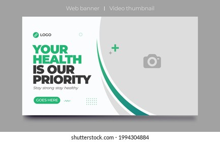 video thumbnail for Medical healthcare and web banner template. promotion banner design for live business workshop. video cover for doctor. Dental clinic social media health service vector layout.