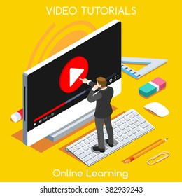 Video tutor man stream training isometric concept. Market monitor study learning education internet online banner. Webinar video conference 3D Flat isometric People Set vector Computer Desktop bet