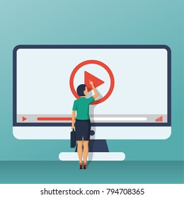 Video tutorial concept. Businesswoman presses play button. Vector illustration flat design. Isolated on background. E-learning, video stream. Social media.