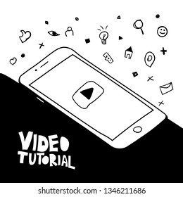 Video tutorial vector hand drawn illustration. Smartphone with play button marker sketch. E-mail, search, like doodle icons. Cartoon lettering. Video streaming, vlog, blog. Black and white drawing