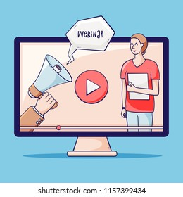 Video tutorial, webinar, online education vector concept