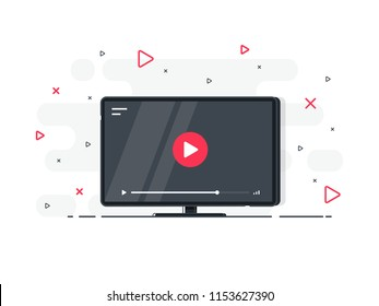 Video tutorials icon concept. Video conference and webinar icon, internet and video services. Trendy flat vector on white background. Vector Illustration.