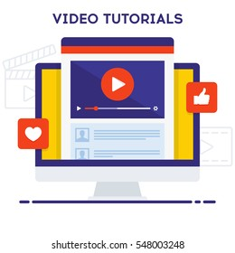 Video tutorials icon concept. Online Webinar and Video Conference sign design with comments. Study and Learning background. Vector illustration in flat style on white background