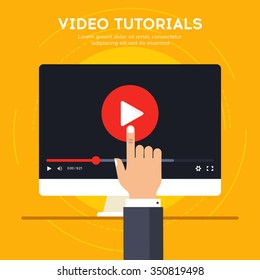 Video tutorials icon concept. Study and learning background, distance education and knowledge growth. Video conference and webinar icon, internet and video services. Vector illustration in flat style