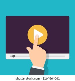 Video tutorials icon. Video conference and webinar, distance education. Streaming video. Vector illustration