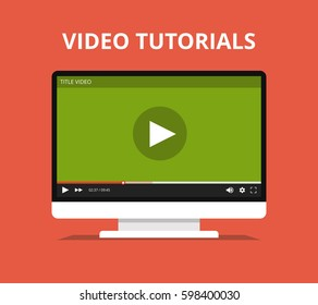 Video tutorials, study and learning concept. Monitor with online player on the screen. Flat vector illustration.