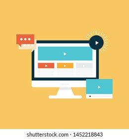 Video tutorials. Vector illustration. Webinar, online education concepts. Modern flat design.