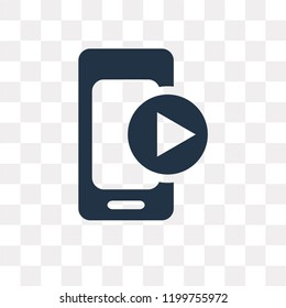Video vector icon isolated on transparent background, Video transparency concept can be used web and mobile