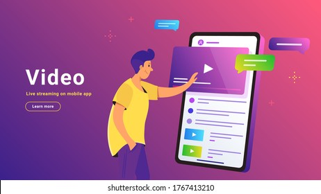 Video watching and live streaming on mobile phone. Gradient vector illustration of cute man standing near big smartphone and pushing play button of video. Smart phone with bubbles on purple background