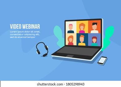 Video-Webinar, Online-Sitzung, Videokonferenz, Digitale Kommunikation - isometrisches Konzept, flache Vektorgrafik auf blauem Hintergrund