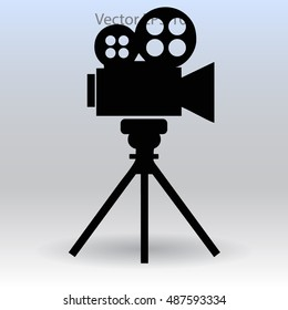 videocam on a tripod vector picture