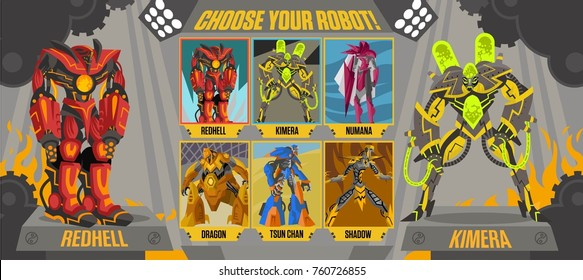 videogame choose robot screen