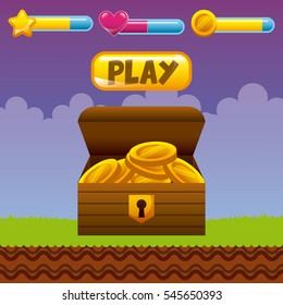 videogame interface with box with gold coins. colorful design. vector illustration