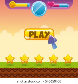 videogame interface with stars icon. colorful design. vector illustration