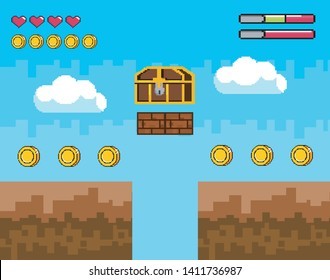 videogame scene with pixelated coffer with coins and life bar