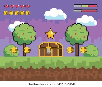 videogame scene with pixelated trees and coffer with coins