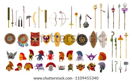 videogame weapons helmets spears