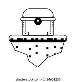 Videogames chest on flotating terrain cartoons vector illustration graphic design