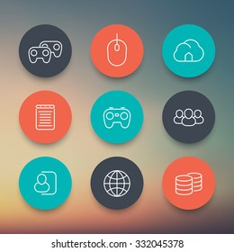 videogames, cooperative, multiplayer, gaming, linear round color icons set, vector illustration