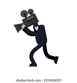 Videographer isolated. Man and Video camera. camcorder head. Vector illustration