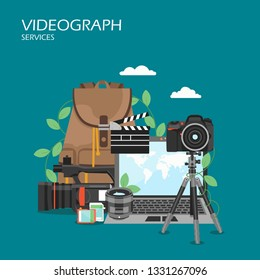 Videographer services vector flat style design illustration. Laptop, camcorder, tripod, memory cards, clapperboard. Professional videography concept for web banner, website page etc.