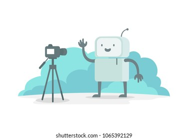 Videoobloger robot character in front of the camera. Stream shows on video. Selfie recording for you tube. The reporter news reportage. Flat color vector illustration