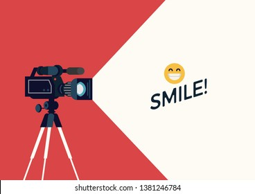 Videotaping layout. Creative vector background with camera on tripod and decorative text container. Ideal for journalism, vlogging or live streaming themed banners, flyers or social media content