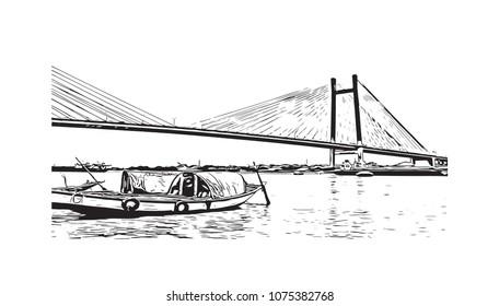 Vidyasagar Setu, bridge of Kolkata, City in West Bengal, India. Hand drawn sketch illustration in vector.