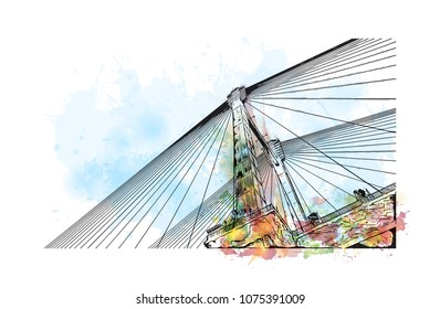 Vidyasagar Setu bridge of Kolkata, City in West Bengal. Watercolour splash with hand drawn sketch illustration in vector.